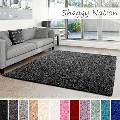 Shaggy-Teppich | Flauschiger Hochflor für Wohnzimmer, Schlafzimmer, Kinderzimmer oder Flur Läufer | einfarbig, schadstoffgeprüft, allergikergeeignet | Dunkelgrau - 160 x 230 cm