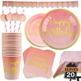 Kompanion 102-teiliges Pink und Gold Motto Happy Birthday Set einschließlich Banner, Teller, Becher, Strohhalme, Servietten und Tischdecke, für 20