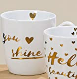 Jumbotasse 480ml Porzellan you shine Gold-Druck H10 cm Jumbobecher Kaffeetasse