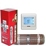 FOXYSHOP24-elektrische Fußbodenheizung PREMIUM MARKE FOXYMAT.SL RAPID (200 Watt pro m²,für die schnelle Erwärmung) mit Thermostat QM-BLUE-TS,Komplett-Set, 2.0 m² (0.5m x 4m)