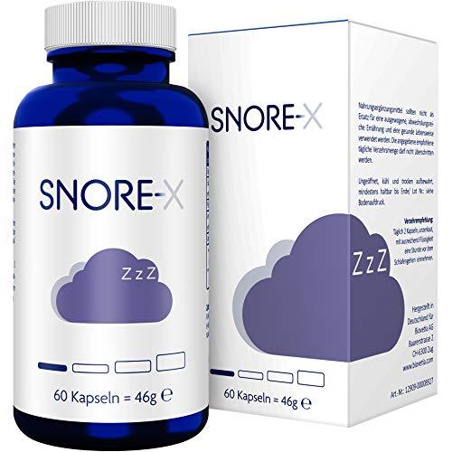 SNORE-X Anti Schnarch Kapseln gegen Schnarchen, pflanzlicher Schnarchen Stopper, endlich frei Atmen und ruhig Schlafen, 60 Kapseln