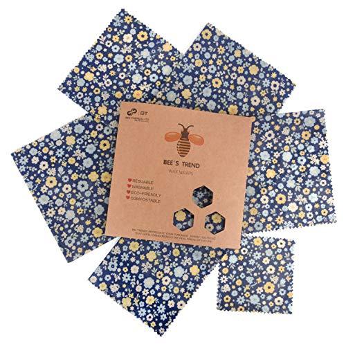 Bee's Trend Set von 6 Bienenwachs-Wickeltüchern, für natürliche Lebensmittelaufbewahrung, keine Abfälle, Käse und Sandwich-Verpackungen, waschbare Schüsselbezüge Blue (Flower Pattern)