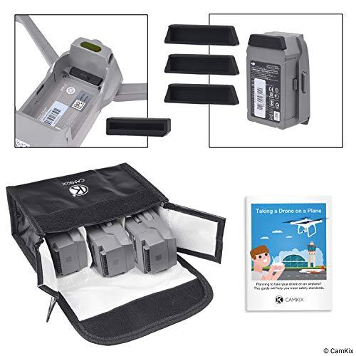 CamKix Reisesicherheits-Pack Kompatibel mit DJI Mavic 2 - Für 3 Akkus - Beinhaltet: LiPo-Sicherheitstasche, 3x Akku-Deckel, 1x Ladeanschluss-Abdeckung und Reise-Anweisungen - Ideales Schutz-Set