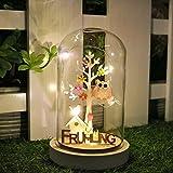 Valery Madelyn Ostern Deko 19cm beleuchtet Glaskuppel LED Glasglocke mit Lichterkette und Holzboden mit Frühling Schrift Batteriebetrieben Nachttischlampe MEHRWEG Verpackung