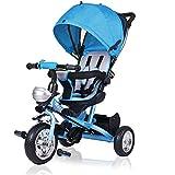 Dreirad Kinderdreirad Kinder Fahrrad Rad Baby Kleinkinder klappbares Sonnendach Elternlenkung viele Vorteile leise PU-Reifen für Jungen und Mädchen mitwachsend blau