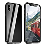 ZXK CO iPhone X Hülle Glas, iPhone XS Einteiliges 360 Grad Vollbildabdeckung Magnetische Adsorption Handyhülle mit Panzerglas Rückseite Vorne und Hinten Case Cover für iPhone X iPhone XS 5.8 Zoll