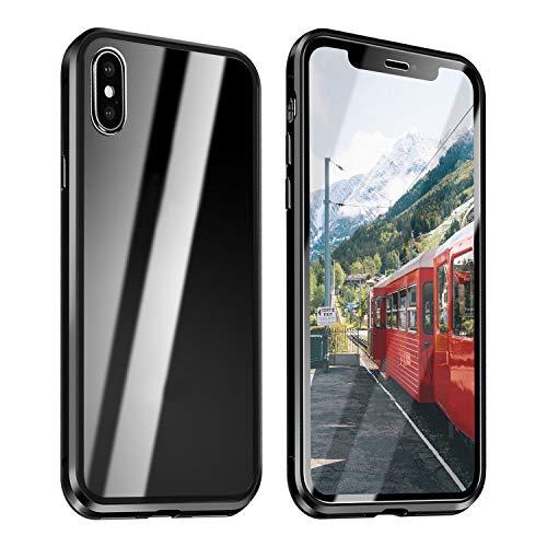 ZXK CO iPhone X Hülle Glas, iPhone XS Einteiliges 360 Grad Vollbildabdeckung Magnetische Adsorption Handyhülle mit Panzerglas Rückseite Vorne und Hinten Case Cover für iPhone X iPhone XS 5.8 Zoll