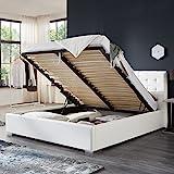 Bett mit Bettkasten Weiß Weiss Polsterbett Lattenrost Doppelbett Jimmy 140 160 180x200cm (160 x 200 cm)