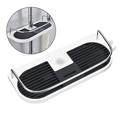 Hawsam Ohne Bohren Duschablage für die Duschstange - Badezimmer Dusche Rack Verstellbar Höhe, Für Duschstange mit Durchmesser von 19mm - 25mm