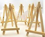 JZK 10 x Mini kleine Holz Tafel Display Staffelei Foto Memo Halter Platzkartenhalter Name Tabelle Karte Stand für Hochzeit Geburtstag Taufe Babyparty Party & Bar (10 x, 15 x 8 cm)
