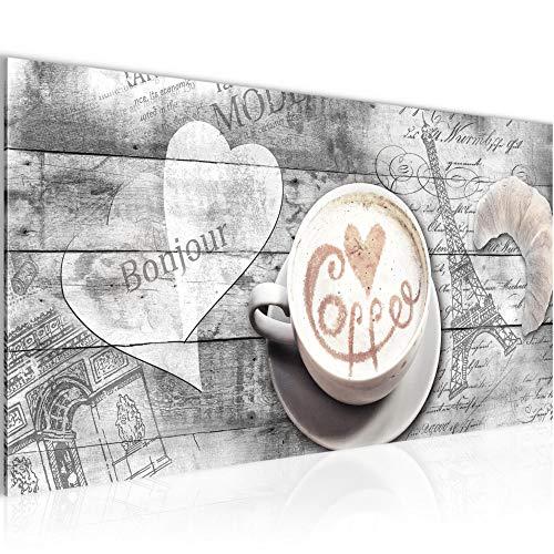 Bilder Kaffee Küche Wandbild Vlies - Leinwand Bild XXL Format Wandbilder Wohnzimmer Wohnung Deko Kunstdrucke Grau 1 Teilig - MADE IN GERMANY - Fertig zum Aufhängen 012812c