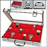 SAFE 266 Uhrenkoffer Alu für 18 Uhren- Uhrenbox innen roter Samt