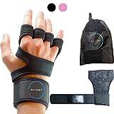 NoLimit Fitness Handschuhe Trainingshandschuhe Sporthandschuhe Crossfit Handschuhe für Damen und Herren (Schwarz/Rosa) mit Handgelenkschutz, Handflächen-Schutz und Silikon-Grip für Dein Workout