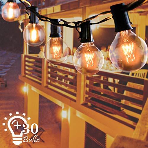 Lichterkette Außen, ALEENUN G40 Globe Lichterkette mit 30 Birnen, 9.6M/32FT Warmweiß, Wasserdicht,Perfekt für Zimmer, Bar, Garten, Balkon, Party (27Birnen mit 3 Ersatzbirnen)