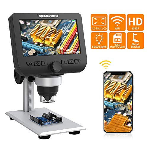 WiFi LCD Mikroskop, ZOTO 4,3 Zoll 1080P Full HD Digital Mikroskop Kamera, 1000X Vergrößerung Metallständer, Wiederaufladbarer Akku, 32G Speicher Mikroskop Kinder Kompatibel mit Smartphone, Mac, PC