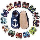 HOBEA-Germany Baby Krabbelschuhe Jungen, Kinderhausschuhe Jungen, Lederschuhe, Schuhgröße:20/21 (12-18 Monate), Modell Schuhe:Anker auf dunkelblau