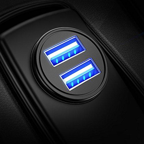 Auto Ladegerät, Mini USB Auto Adapter KFZ Ladegerät 2-Port 24W 5V / 4.8A mit Aluminium-Legierung Gehäuse für iPhone X / 8/7 / 6s / Plus, iPad Air / Mini, Galaxy S8 / S7 / Edge / Plus , Hinweis 5/4, LG, Nexus, HTC und Mor (Schwarz) (1 Packung)