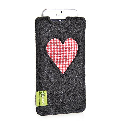 Almwild Hülle Tasche für Apple iPhone 8, 7, 6 MIT Apple Leder Case/Silikon Case. Modell 'Gschbusi' in Schiefer- Grau, Schwarz. Handyhülle handgefertigt in Bayern