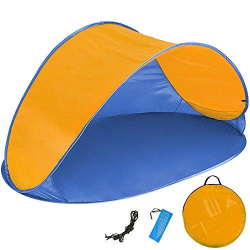 TecTake 800196 Pop Up Strandmuschel Wurfzelt 220x120x100cm mit UV Schutz - Diverse Farben - (Orange Blau | Nr. 401681)