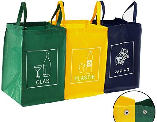 3er Set Mülltrennsystem Abfalltrenner für Papier, Plastik und Glas mit praktischem Transportgriff