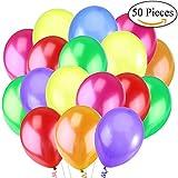 Jonami 50 Mehrfarbige Luftballons Bunt Helium - Ballon Bunte Latex Premiumqualität Ø ca. 36 cm / 14' Partyballon Bunte 3,2 g Deko / Dekoration fur Geburstags