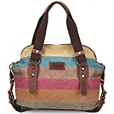 Moceal Multi-Color-Striped Canvas Damen Handtasche/Umhängetasche Canvas Tasche Shopper Hobo Bag