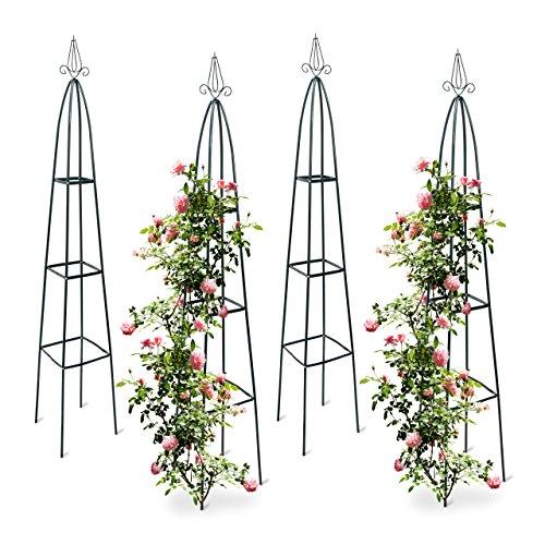 4x Rankturm, Garten Obelisk, freistehende Rankhilfe für Kletterpflanzen, Ranksäule, Metall, HBT 192 x 35 x 35 cm, grün