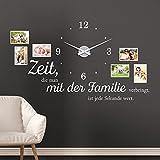 KLEBEHELD Wandtattoo Uhr Familienzeit mit Fotorahmen und Spruch für Wohnzimmer und Wohnbereich Farbe schwarz, Größe 120x69cm (B x H) | Uhr silber| Umlauf 44cm