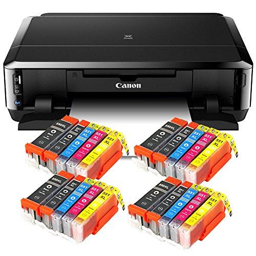Canon Pixma iP7250 mit WLAN, Fotodrucker und CD-Bedruck, Auto Duplex Druck (9600x2400 dpi, USB) Tintenstrahldrucker + USB Kabel + Set 20 IC-Office XL Tintenpatronen (Originalpatronen nicht im Lieferumfang)