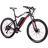 CHRISSON 27,5 Zoll E-Bike Mountainbike - E-Weger schwarz rot 53 cm - Elektro Fahrrad für Herren und Damen - 27 Gang Shimano Altus Kettenschaltung - Pedelec mit Bafang Hinterradmotor 250W, 45Nm