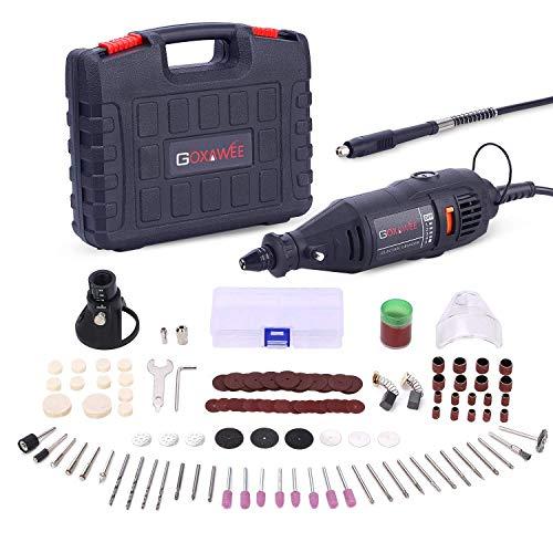 Multifunktionswerkzeug, GOXAWEE 130W Drehwerkzeug Set mit Biegsame Welle, Multipro Schnellspannbohrfutter und 140 Zubehör für Handwerker und Heimwerker
