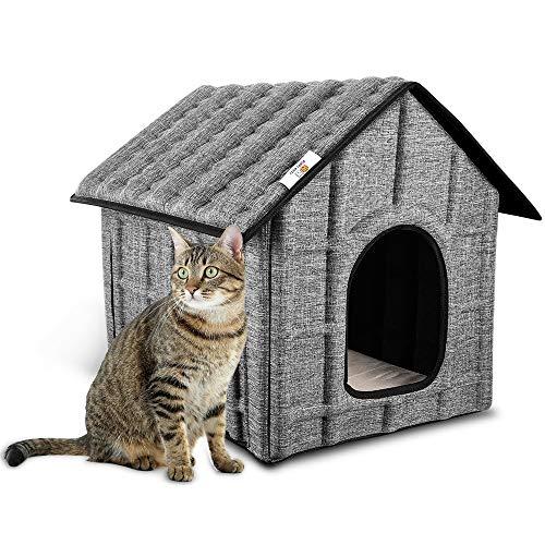 Katzenhaus für Draußen, PUPPY KITTY Winterfest Katzenhöhle Faltbar Hautier Haus mit Abnehmbarem Matratze Weich und Warm für Hund Katze Hündchen Kaninchen