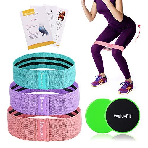 WeluvFit Fitnessbänder Set und Doppelseitige Gleitscheiben Stoff Widerstandsbänder,Loop Bänder fürBauchmuskeln,Beine und Hüften - Reisetasche, Schulungs und Rezeptheft enthalten