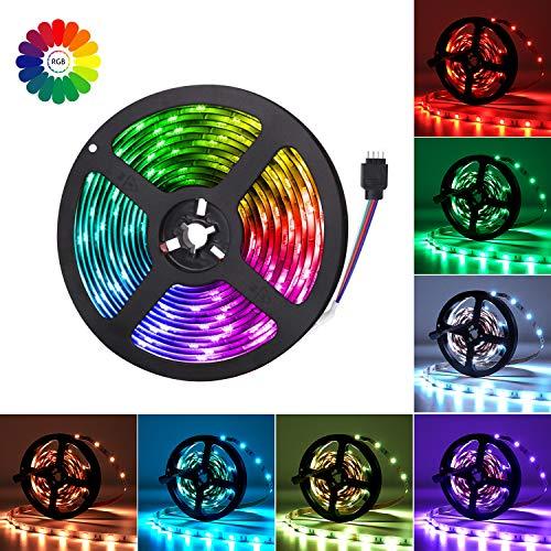 Adoric LED Streifen 5M RGB LED Strip 5050 SMD 150 LEDs Lichtband mit Netzteil 44key IR Fernbedienung selbstklebend Kit für Innen außen Beleuchtung DIY Party Deko
