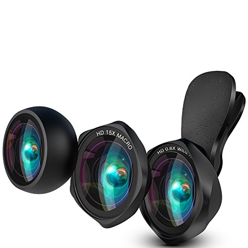 HD Handy Objektiv Set – Luxsure 100° Weitwinkelobjektiv + 15X Makro Objektiv + Fisheye Objektiv Fischauge lens linse für iPhone X / 8 plus / 8 / 7 plus / 7 / 6 / iPad / Samsung Galaxy s6/s7/s8 & Smartphones & Laptops (Schwarz)