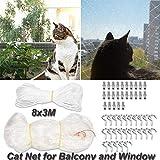 Katzennetz für Balkon und Fenster,8 x 3m Katzenschutz-Netz,Balkonnetz für Katzen und vögel mit 25m Befestigungsseil, Haken und Passstiften zur Absicherung von Balkon, Terrasse, Fenster und Türen
