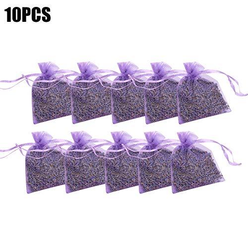 Opfury 10 x Lavendelsäckchen mit Bio Lavendelblüten, zum Mottenschutz gegen Motten im Kleiderschrank für Duftsäckchen zum Entspannen und Schlafen, Home Duft Schubladen und Kommoden