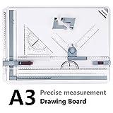 A3 Zeichenplatte, Preciva A3 Zeichenbrett DIN A3 Zeichentisch mit Zubehör 51 x 36,5 CM - Erneuert