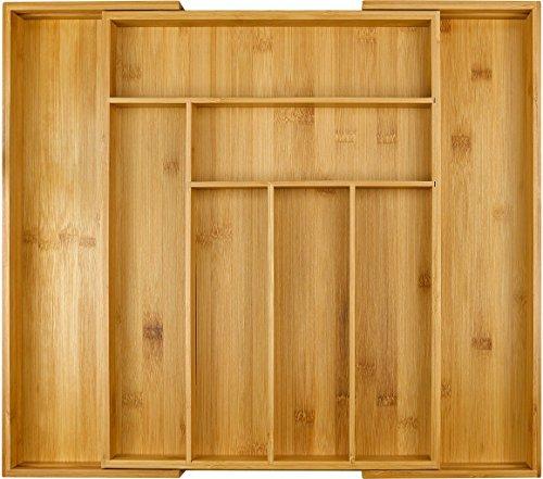 Harcas Besteckkasten aus Bambus. Schubladeneinsatz mit 6-8 Fächern. Großer, ausziehbarer Küchenorganizer. Auf bis zu 50cm x 43cm x 5cm ausziehbar