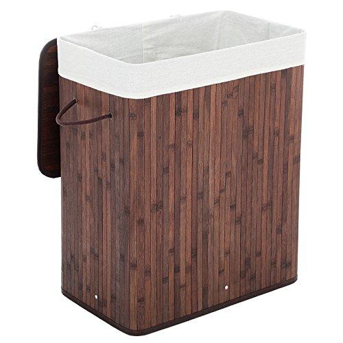 Songmics faltbar Bambus Wäschekorb Wäschetruhe Wäschekiste Wäschetonne mit Deckel Wäschesammler 100 L (62,5 x 52 x 32 cm) Wäschebox mit Wäschesack zum Herausnehmen braun LCB61Z