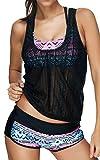 EUDOLAH Damen Sport Yoga Fitness 3-Teilig Tankini mit Shorts Strand Bikini Set mit Top (EU 42/ XL, A-Pink)