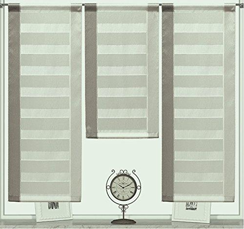 Design Mini Flächenvorhang Set braun beige 2222 | 3 Teile | Scheibengardine Gesamtbreite 90cm (3x30cm) Höhe 80/60/80cm
