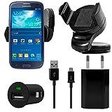 4in1 KFZ Auto Lade Set Ladegerät schwarz mit Micro USB Kabel + 220V Netzteil + KFZ Adapter + Mini Halterung Handyhalterung für Samsung Galaxy S7 Edge S7 S6 S6 Edge S5 S4 S3 S5 Mini S4 Mini S3mini