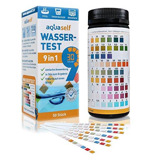 aquaself 9-in-1 Wassertest – 50 Stück Trinkwasser Teststreifen zur Überprüfung der Wasserqualität - inkl. gratis E-Book