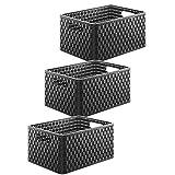 Rotho 3er-Set Aufbewahrungskisten 18 l in Rattan-Optik, Kunststoff (PP), schwarz, A4/18 Liter (36,8 x 27,8 x 19,1 cm)