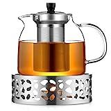 ecooe 1000mL Teekanne mit Stövchen Teebereiter Glas und Edelstahl Teewärmer