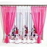 GMM-4 DISNEY Kindergardine für Mädchen / Kinder mit Motiv MINNIE MOUSE für Kinderzimmer / Mädchenzimmer / Vorhänge pink