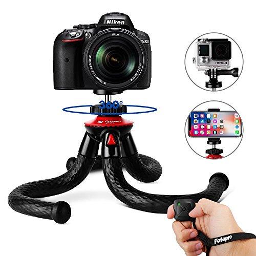 Fotopro Handy Stativ, iPhone Stativ mit Bluetooth Fernbedienung, Telefonhalterung Adapter, Gopro Adapter für iPhone, Smartphone, Kamera, Gopro