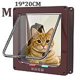 Pujuas Katzenklappe Hundeklappe mit 4-Wege-Magnet-Schließ, Haustierklappe für Katzen und kleine Hunde, Katzentüre mit Tunnel (M 19 x 20 x 5.5cm, Braun)