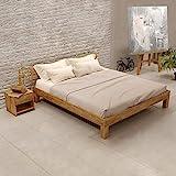 Krok Wood Julia Massivholzbett in Eiche 140 x 200 cm FSC 100% Massiv Einzelbett, Natur geölt Eichebett, Billig Holzbett mit Kopfteil, massivholz Bett vom Hersteller und kostenlose Lieferung
